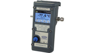 A portable dewpoint hygrometer offering quick and reliable spot check measurements of dewpoint and trace moisture content for industrial applications. This robust and lightweight instrument features an intuitive menu structure and advanced features which will enable the user to perform measurements in the toughest of environments, quicker and easier than ever before. Key Features: Automatic Calibration (AutoCal) Desiccant dry down assembly for high speed measurements User selectable engineering units - °C, °F, ppm(v), ppm(w), g/m3, lbs/MMscf Accuracy of ±2 °C (±3.6 °F) Full colour graphics LCD display, with secondary display 10 language options Various measurement ranges available from -100 °C to +20 °C (-148 °F to 68 °F) dewpoint Rechargeable battery - over 150 hours of continuous operation on full charge Advanced data logging and download to PC USB charging/connection to PC interface Bluetooth connection/printing Robust and durable enclosure, designed for use in the toughest environments Truly portable and lightweight: less than 1.75 kg (3.8 lbs) Calibration Certificate traceable to National & International Humidity Standards